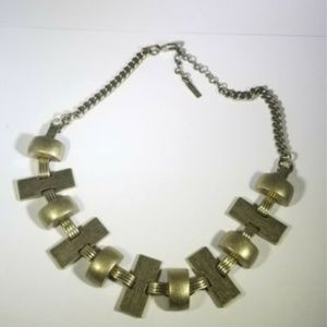 Jewelmint Gold Tone Ridged Tile Half Moon Necklace